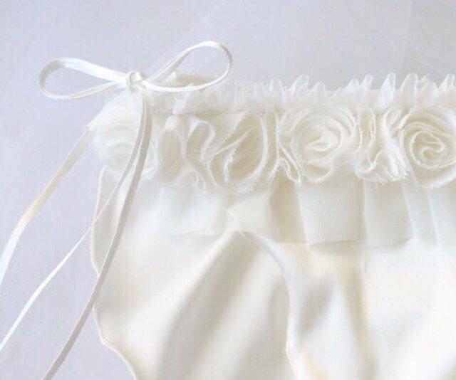お花 シルク ショーツ オフホワイト Wedding classic ふんどしパンツ (L size)の画像1枚目