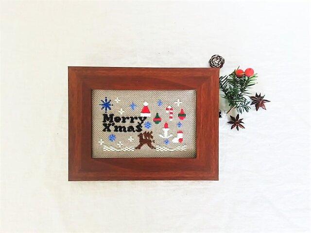 刺繍キット「クリスマス」(フレーム付き・針付き)の画像1枚目