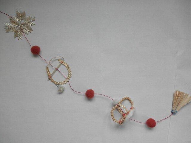 麦藁細工のガーラント 王冠 ラッキーホースシュー 雪の結晶の画像1枚目
