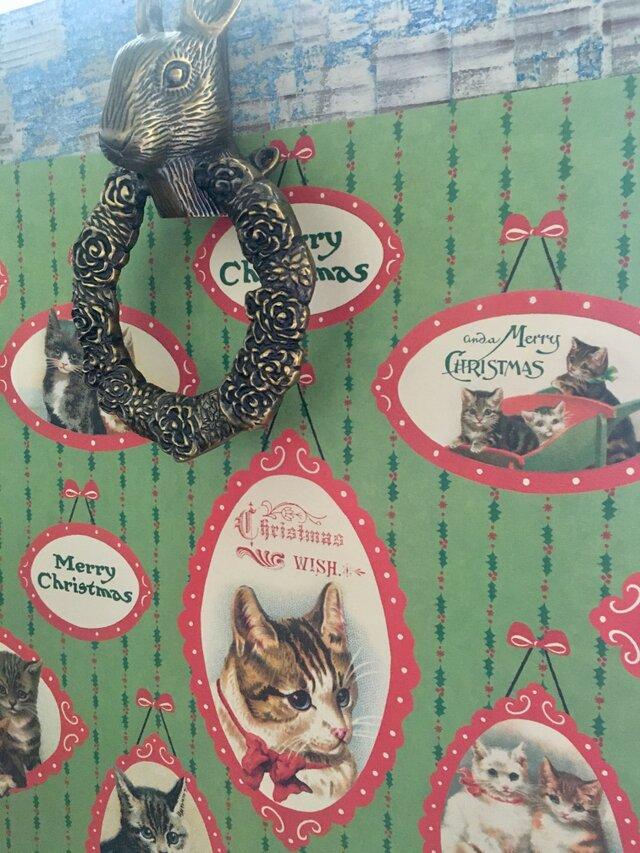 ITALY ラッピングペーパー xmas catの画像1枚目