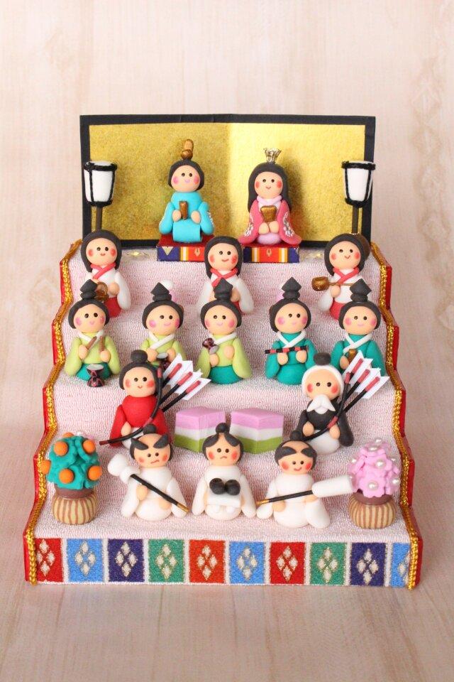 【お名前木札お作りします】15人飾り♥お雛様(薄ピンク)の画像1枚目