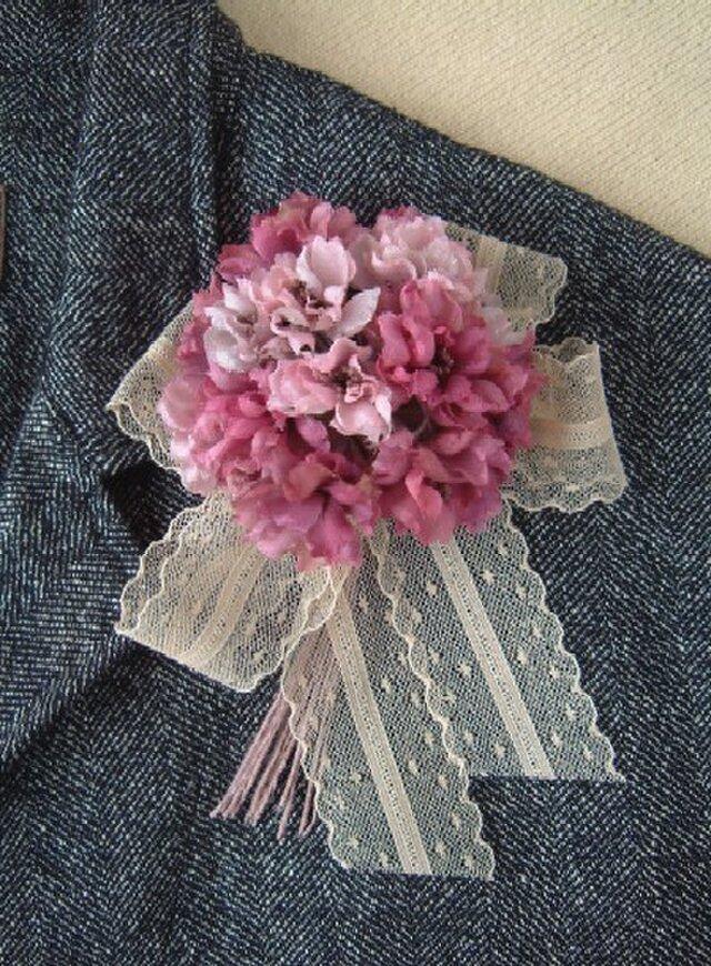 ミニ薔薇の花束 ピンクミックス* シルクデシン製 * コサージュの画像1枚目