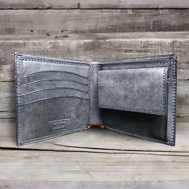 男の本革二つ折り財布 --- 国産牛革ロロマ [ネイビー]の画像1枚目