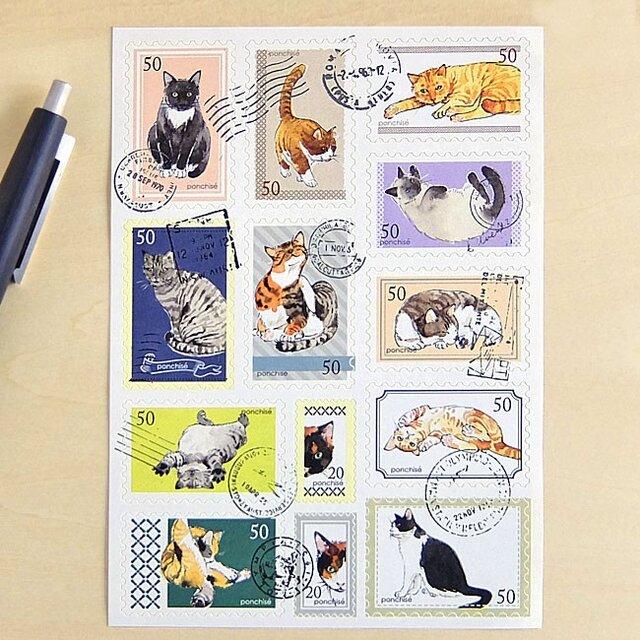 切手シール 猫の画像1枚目
