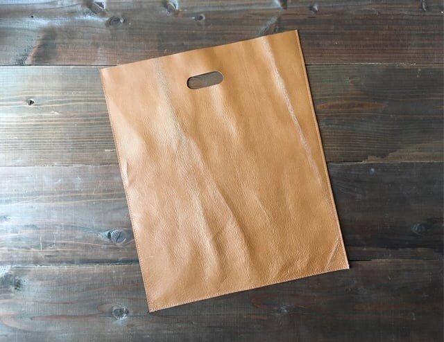 豚革 ブラウン レコードバッグ トートバッグハンドバッグの画像1枚目
