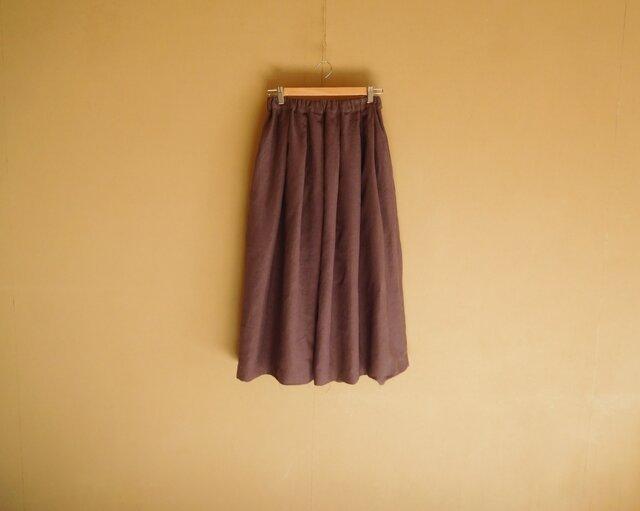 リネンのスカート パープルブラウンの画像1枚目