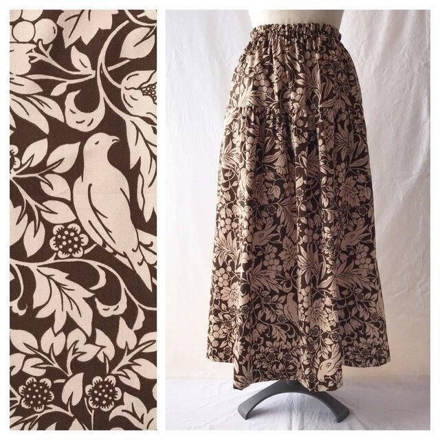 レディのためのティアードスカート(実りの季節:ブラウン)の画像1枚目
