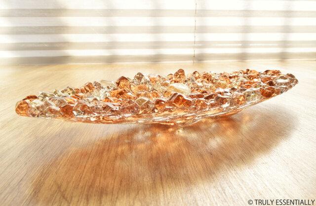 ガラスのアクセサリートレイ - 「 KUBOMI 」● アプリコット・20cmの画像1枚目