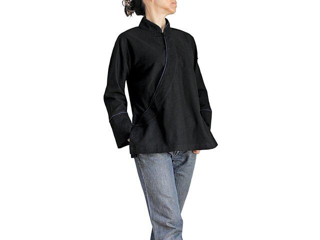 ジョムトン手織り綿カシュクール風チャイナ 黒(BFS-149-01)の画像1枚目