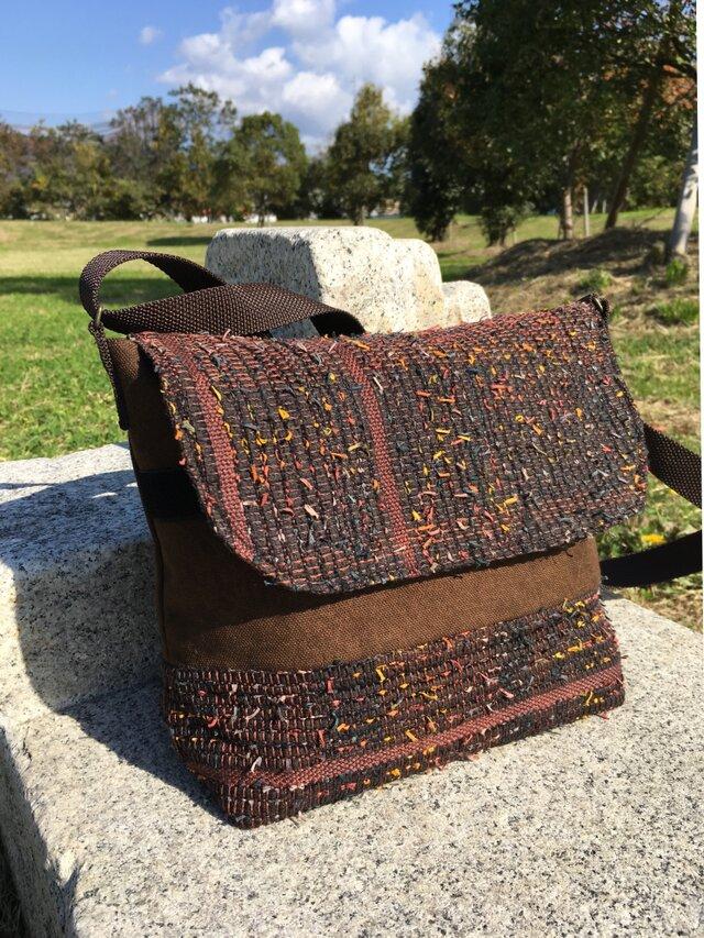 メッセンジャーバッグ(大)秋色の裂織りの画像1枚目