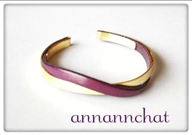 【ヨーロッパ製本革 ベリー 赤紫 と ゴールドの ブレスレット】オリジナル むらさきの画像1枚目