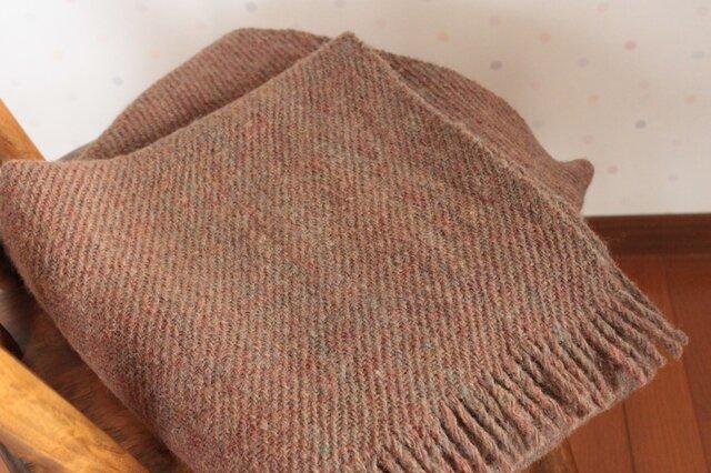 【手紡ぎ・手織り】ウール ショール 茶色 森の大地 の画像1枚目
