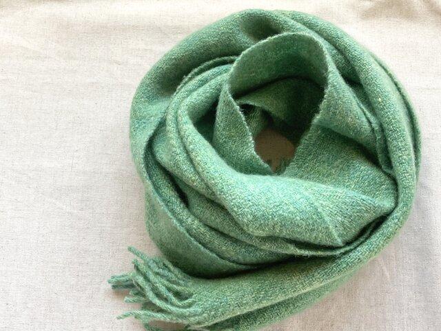 【カシミヤ 手紡ぎ・手織り】 マフラー 常盤緑 明るいグリーン 緑系の画像1枚目