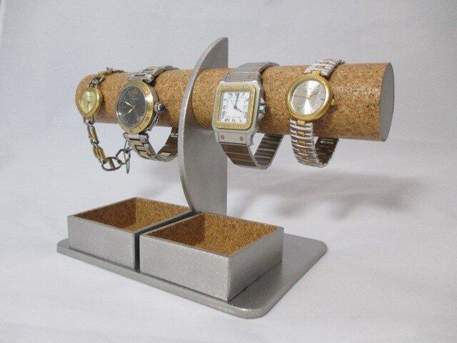 クリスマスに 腕時計4本掛けダブル角トレイ付きハーフムーン腕時計スタンド ak-designの画像1枚目