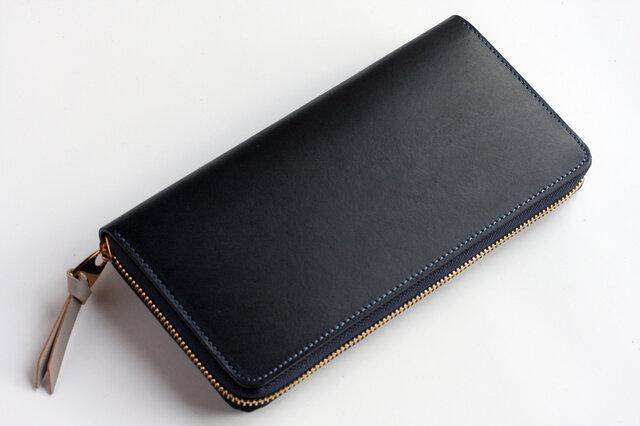 イングラサット_ネイビー◆外装◆おとな財布◆ラウンドジップの画像1枚目