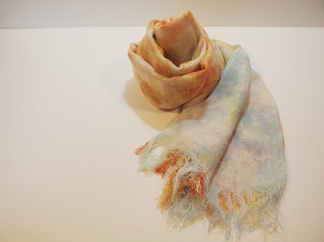 国産シルク100%手描き染めストール orange&sky blueの画像1枚目