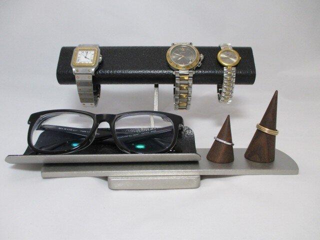 クリスマスに だ円パイプブラック腕時計4本掛け、スマホ、めがね、アクセサリー収納スタンド ak-designの画像1枚目
