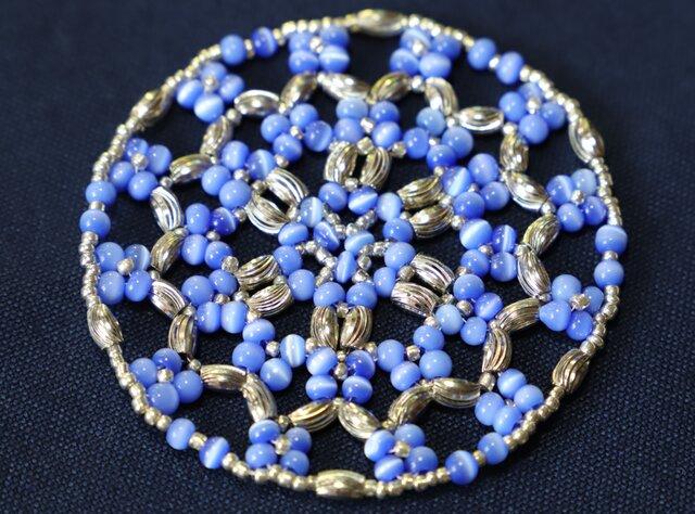 青い花柄~ビーズドイリーマットの画像1枚目