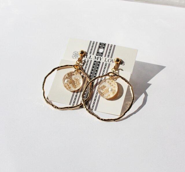 博多織樹脂イヤリング(RY-01) ラウンドチャーム ゴールド 金 gold レジン 和装 着物 博多献上の画像1枚目