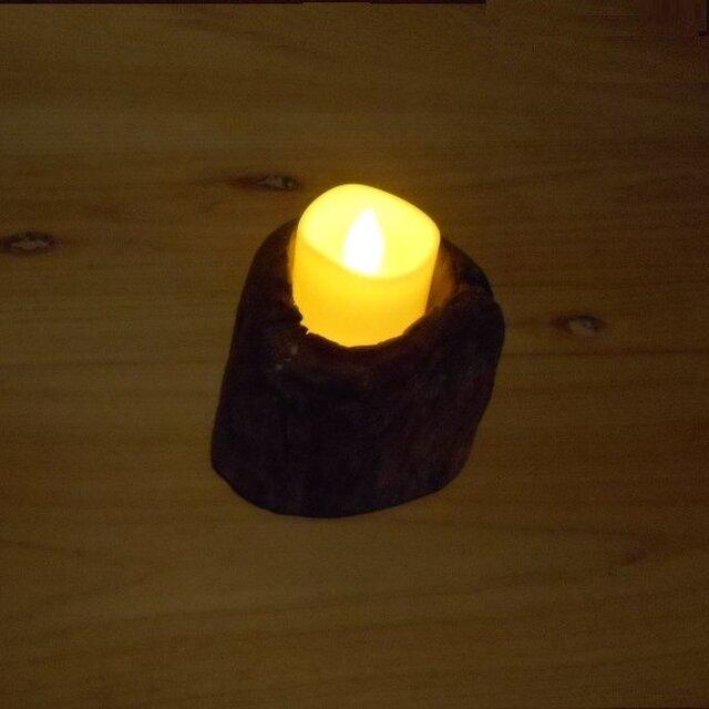 【温泉流木】ミニ丸太輪切りのかわいい流木LEDキャンドルスタンド005トール キャンドルホルダー 流木インテリアの画像1枚目