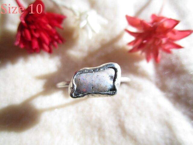 silver オパール 原石 リングの画像1枚目