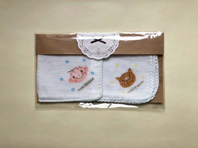 男の子出産祝 名入れガーゼいのししの画像1枚目