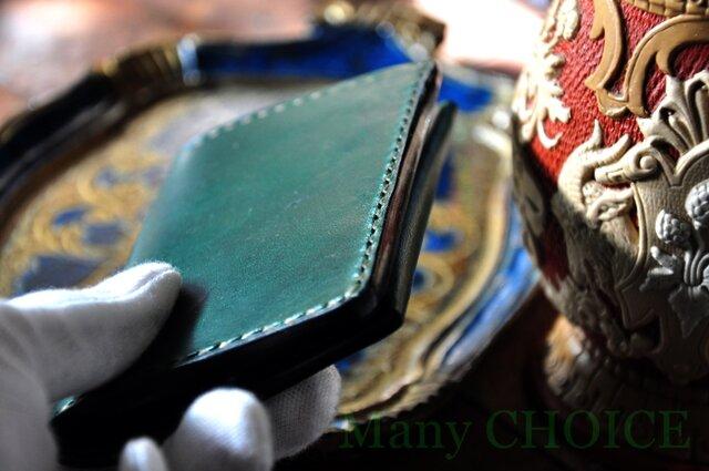 イタリアンレザー・帝王ブッテーロ・名刺入れ(グリーン)の画像1枚目