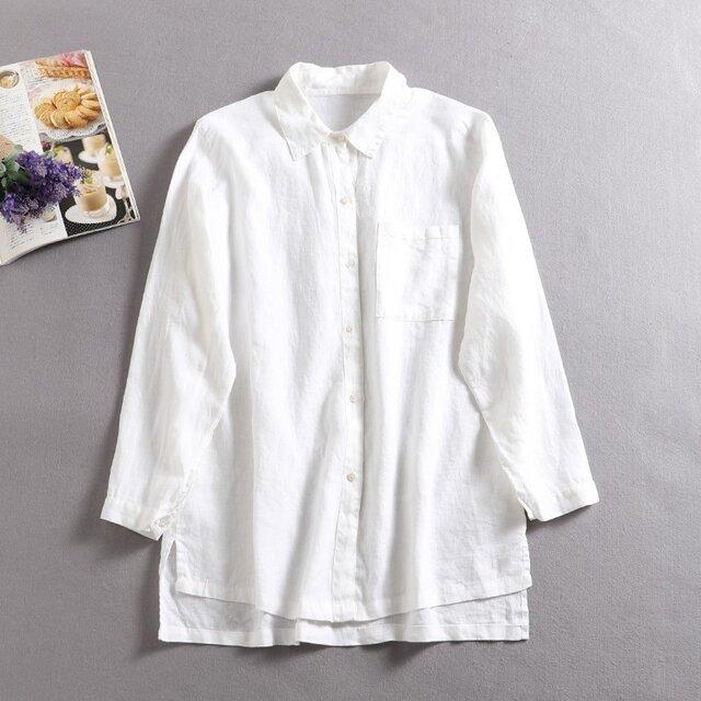 ★3周年記念キャンペーン★送料無料★年中着回し可能 リネンシャツ の画像1枚目