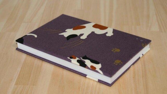 御朱印帳 おさんぽねこ 紫【G-046】の画像1枚目