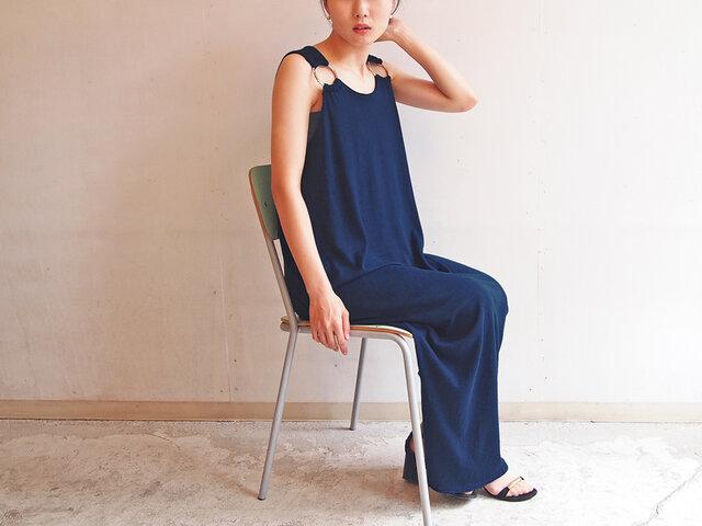 ■リングマキシワンピース/濃藍色の画像1枚目