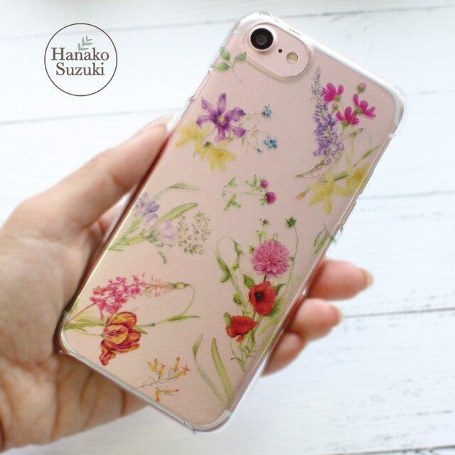 5b0ad4731e ボタニカルな花柄デザイン iPhoneケース(クリア) [iphone6/6S/7/8対応 ...