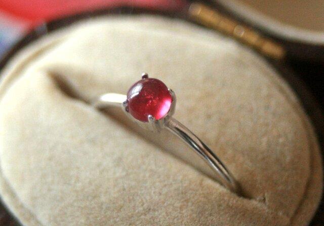 ルビー*4mm大粒宝石質天然石シルバーリングの画像1枚目