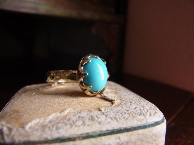 限定品 K18トルコ石のリングの画像1枚目