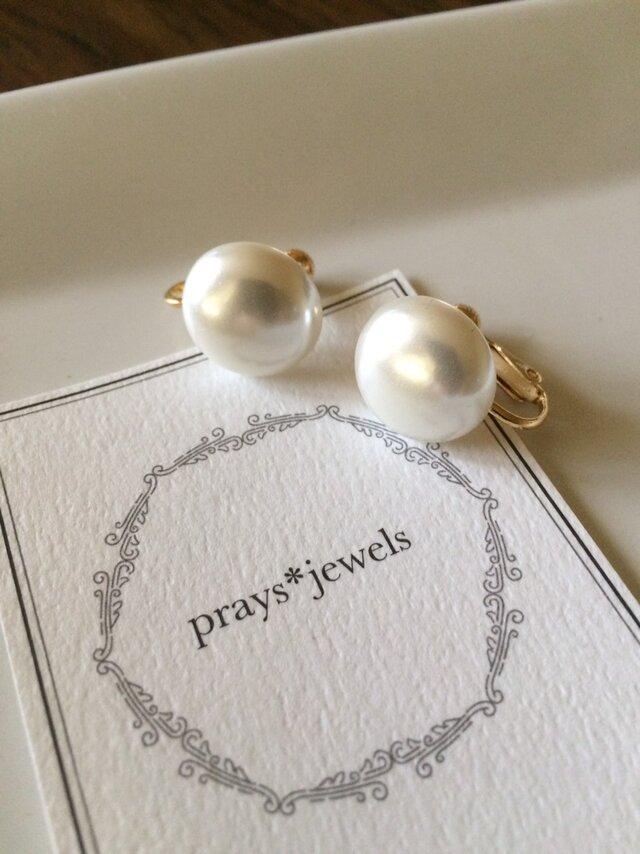 16mm! Japan Vintage pearls earringsの画像1枚目