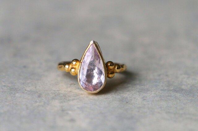 古代スタイル*天然ピンク・モルガナイト 指輪*7.5号 GPの画像1枚目