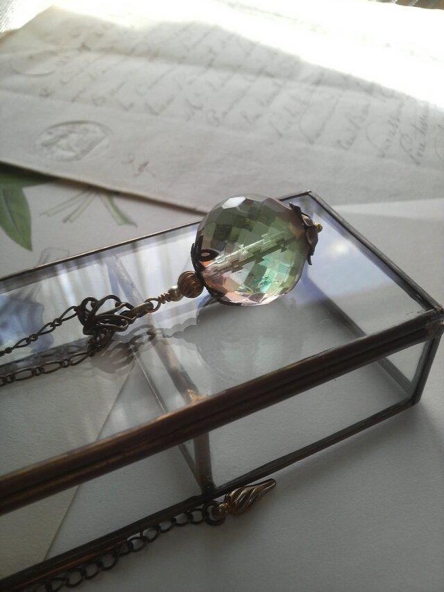 ヴィンテージ Green-Rosaline 20ミリ Large-Bead ロングネックレスの画像1枚目