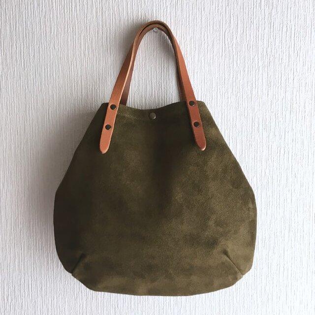 牛床ベロアと極厚オイルヌメの丸型トートバッグ S-size【オリーブ】の画像1枚目