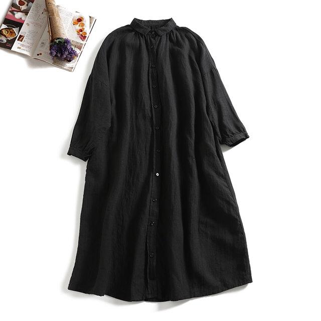 おしゃれの幅も広がるリネンのロングシャツ ワンピース1110-2の画像1枚目