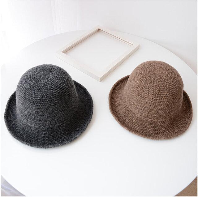 sale暖かくて携帯便利  ウール混 ラフィア風ハット 帽子 2色 サイズ調整、アレンジ可能の画像1枚目