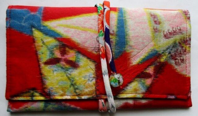 送料無料 折り鶴柄の銘仙の着物で作った和風財布・ポーチ 3898の画像1枚目