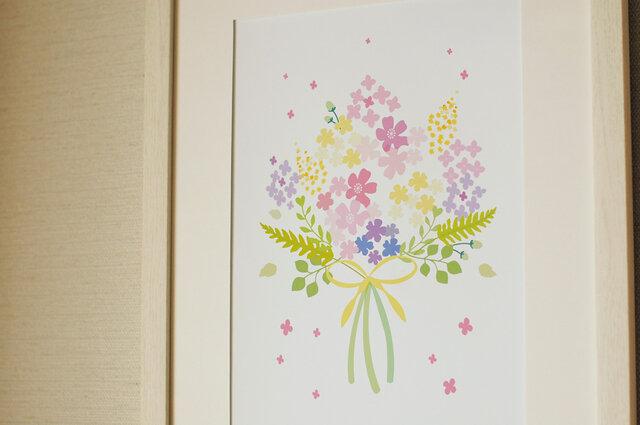 可愛いお花のブーケ ♪ ボタニカル アート 北欧の画像1枚目