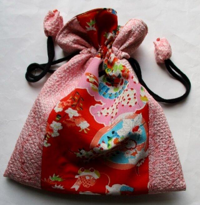 送料無料 絞りと花柄の着物で作った巾着袋 3904の画像1枚目