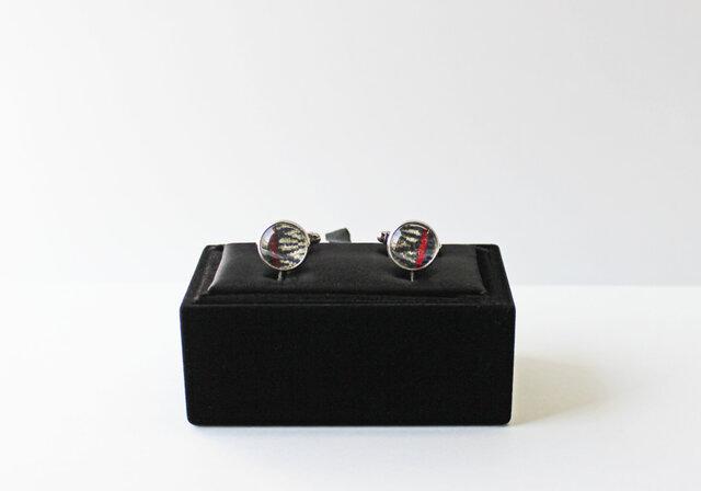 博多織カフスボタン 博多献上 ネイビー 青 箱付き (caf-02)の画像1枚目