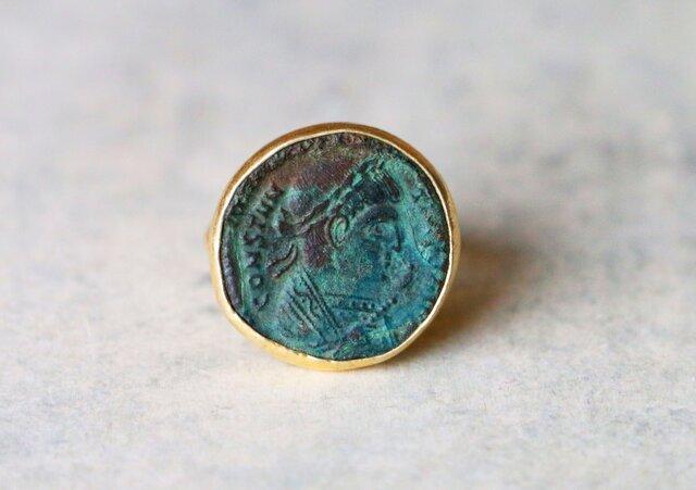 古代スタイル*古代ローマン・コイン 指輪*8号 SVの画像1枚目