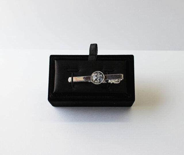 博多織ネクタイピン(NP-01)父の日ギフト 博多献上 黒 ブラック 箱付きの画像1枚目