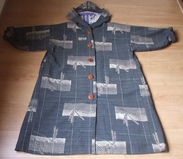 アンティークなとんぼ柄のフード付きコート ウールの画像1枚目