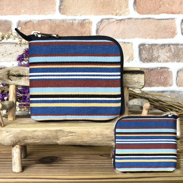 新案設計・倉敷帆布の薄い財布   紺系生地 紺ファスナーの画像1枚目