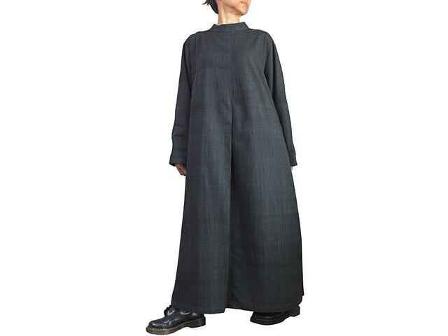 ジョムトン手織り綿ゆったりハイネックドレス 墨黒 (DFS-059-01)の画像1枚目