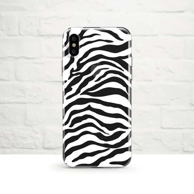 Zebra Print, White クリアソフト ケースの画像1枚目
