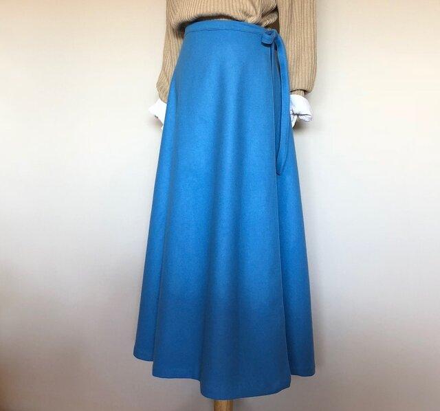 フランス製ウール ラップフレアースカートの画像1枚目